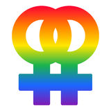 Lesbian couple rainbow symbol, LGBT flag vector Stock Images