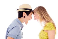 Lesbian couple shouting at each other Stock Image