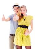 Lesbian couple showing thumbs up sign Royalty Free Stock Photography