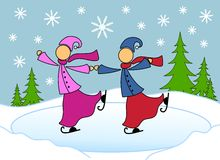 Lesbian Couple Skating Christmas Card Royalty Free Stock Image