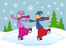 Lesbian Couple Skating Christmas Card Royalty Free Stock Image