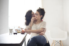 Lesbian Couple Together Indoors Concept stock photos