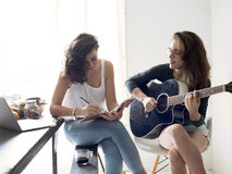 Lesbian Couple Together Indoors Concept Royalty Free Stock Photos