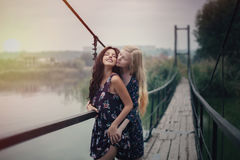 Lesbian Couple Together Outdoors Concept royalty free stock photography