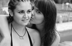 Lesbian couple. Young women kissing royalty free stock photos