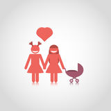 Lesbian family couple with baby stroller Stock Images