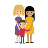 Lesbian family with kid. Gay parenting. Royalty Free Stock Photos