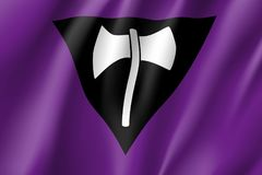 Lesbian feminist movement lgbt. Realistic banner. Flag of sexual minorities, gays and lesbians. Vector illustration of a labrys Stock Images