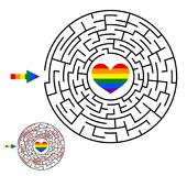 Lesbian, gay, bisexual, transgender LGBT maze. Gay and lesbian l. Ove. Labyrinth, maze conundrum. Entry and exit. Homosexual puzzle game. Vector illustration royalty free illustration