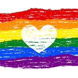 Lesbian, gay, bisexual, transgender LGBT pride heart. Rainbow fl. Ag. Grunge heart. Gay and lesbian love. Vector stock illustration Stock Images