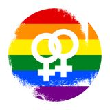 Lesbian, gay, bisexual, transgender LGBT pride symbol and sign. Gay and lesbian love. Grunge texture. Rainbow vector stock illustration Royalty Free Stock Photos
