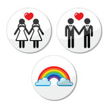 Gay, lesbian marriage, rainbow icons set Royalty Free Stock Photos