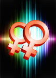Lesbian Gender Symbols on Abstract Spectrum Background Stock Images