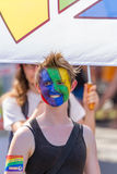 Lesbian Girl with painted Face at Christopher Street Day in Stuttgart, Germany Royalty Free Stock Image