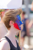Lesbian Girl with painted Face at Christopher Street Day in Stuttgart, Germany Stock Photo