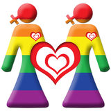 Lesbian Graphic - Two Girls - Rainbow. An image of two grils with woman cross symbol in ranbow colours stock illustration