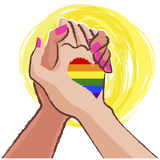Lesbian hand in hand  - LGBT concept Stock Photos