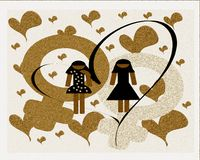 Lesbian couple in love illustration. Illustration representing a lesbian couple without voulgarity Stock Photo