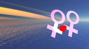 Lesbian love over the sea. Two pink female symbols representing a lesbian couple witch is holding red heart over the sea by colored sky Royalty Free Stock Photography
