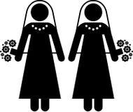 Lesbian marriage. Pictogram of a lesbian wedding Stock Photo