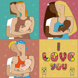 Lesbian mothers with child Stock Images
