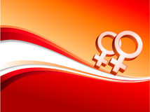 Lesbian red female gender symbols Stock Image