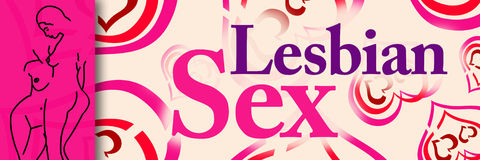 Lesbian Sex Hearts Banner. Banner image with lesbian sex text in pink purple Stock Photography