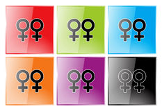 Lesbian symbol. Glossy buttons in 6 colors representing lesbians Royalty Free Stock Images