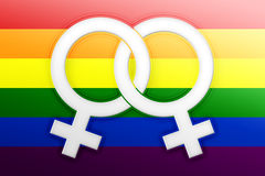 Lesbian symbols. Illustration of rainbow flag and symbol for gay - lesbian relationship, love or sexuality Stock Illustration
