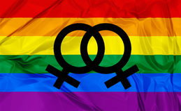 Lesbian symbols. Illustration of colorful rainbow flag and symbol for gay, lesbian relationship, love or sexuality Royalty Free Stock Image