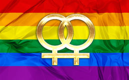 Lesbian symbols. Illustration of colorful rainbow flag and symbol for gay, lesbian relationship, love or sexuality Royalty Free Stock Photography
