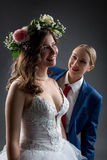 Lesbian wedding. Happy bride and groom posing Stock Photos
