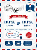 Lesbian Wedding Invitation. Template in Postcard and Air mail style Stock Photos
