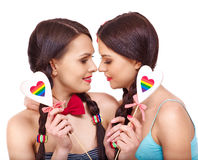 Lesbian women with heard  in erotic foreplay game Stock Photo