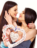 Lesbian women with heart Stock Images