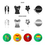 Lesbians, dress, balls, gay parade. Gay set collection icons in black, flat, monochrome style vector symbol stock. Illustration Stock Images