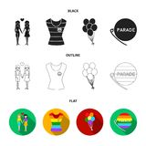 Lesbians, dress, balls, gay parade. Gay set collection icons in black,flat,outline style vector symbol stock. Illustration Stock Image