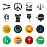Lesbians, dress, balls, gay parade. Gay set collection icons in black,flet style vector symbol stock illustration web. Lesbians, dress, balls, gay parade. Gay Royalty Free Stock Photography