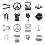 Lesbians, dress, balls, gay parade. Gay set collection icons in black,monochrome style vector symbol stock illustration.  Stock Photos