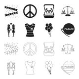 Lesbians, dress, balls, gay parade. Gay set collection icons in black,outline style vector symbol stock illustration web. Lesbians, dress, balls, gay parade. Gay Stock Photos