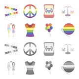 Lesbians, dress, balls, gay parade. Gay set collection icons in cartoon,monochrome style vector symbol stock. Illustration Royalty Free Stock Photos