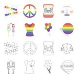 Lesbians, dress, balls, gay parade. Gay set collection icons in cartoon,outline style vector symbol stock illustration.  Stock Photos