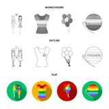 Lesbians, dress, balls, gay parade. Gay set collection icons in flat,outline,monochrome style vector symbol stock. Illustration Stock Images