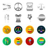Lesbians, dress, balls, gay parade. Gay set collection icons in monochrome,flat style vector symbol stock illustration.  Stock Image