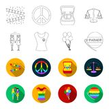 Lesbians, dress, balls, gay parade. Gay set collection icons in outline,flet style vector symbol stock illustration web. Lesbians, dress, balls, gay parade. Gay Royalty Free Stock Photography