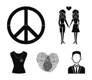 Lesbians, fingerprints, sign, dress.Gayset collection icons in black style vector symbol stock illustration web. Lesbians, fingerprints, sign, dress.Gayset Royalty Free Stock Images