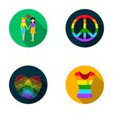 Lesbians, fingerprints, sign, dress.Gayset collection icons in flat style vector symbol stock illustration web. Stock Images