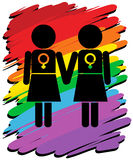 Lesbians with rainbow background Stock Photography
