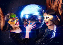 Lesbians women dancing on party Stock Images
