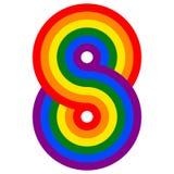 Lesbienne de symbole de signe de vecteur du drapeau LGBT d'arc-en-ciel de signe d'infini du schéma 8, gai, bisexuel et transsexue illustration libre de droits